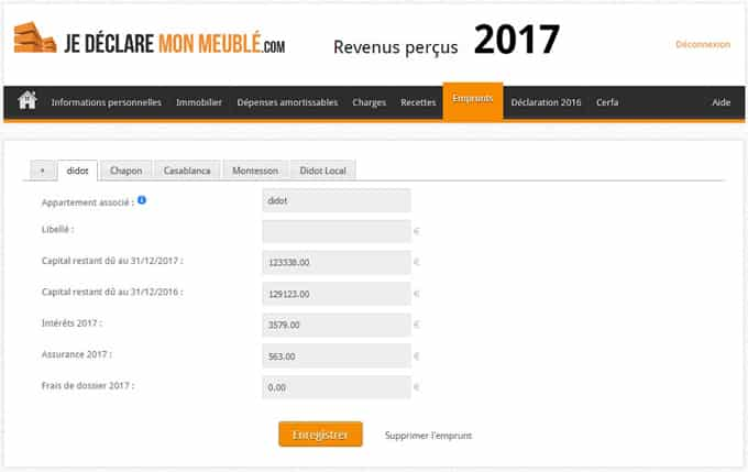Emprunts comptable LMNP