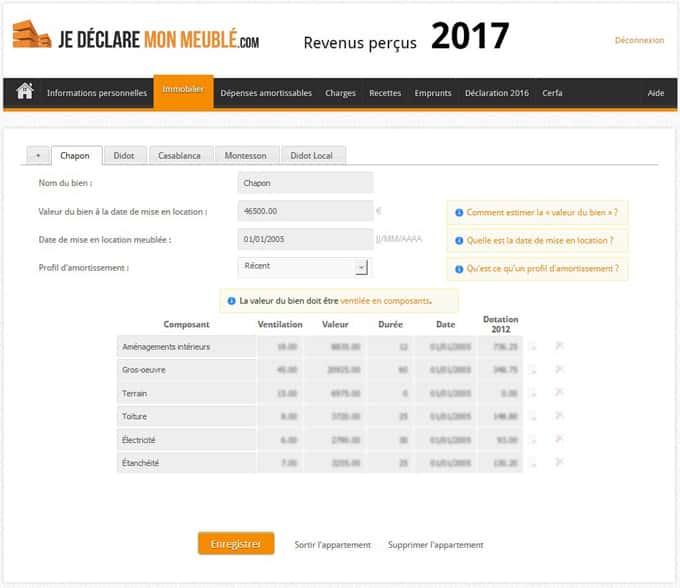 Onglet Immobilier comptable LMNP