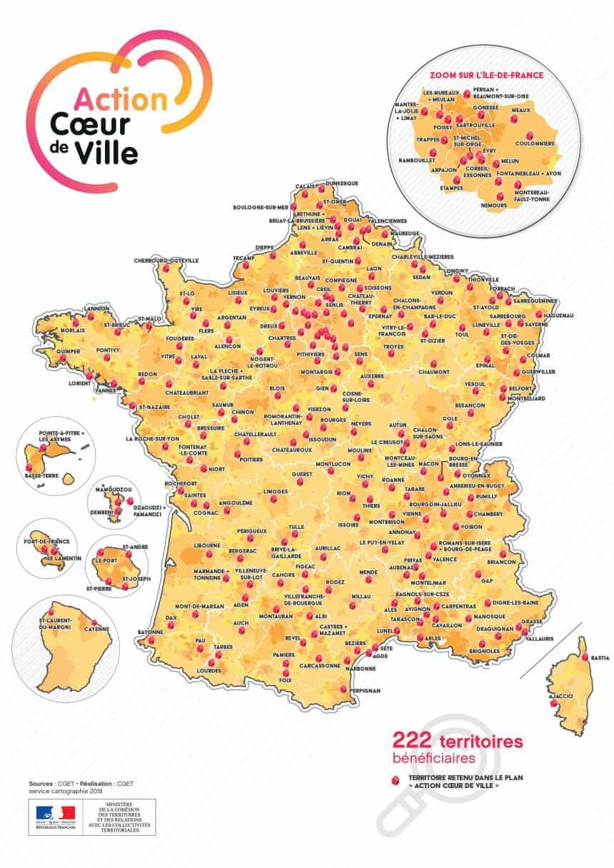 La carte de France des villes éligibles à la loi Denormandie